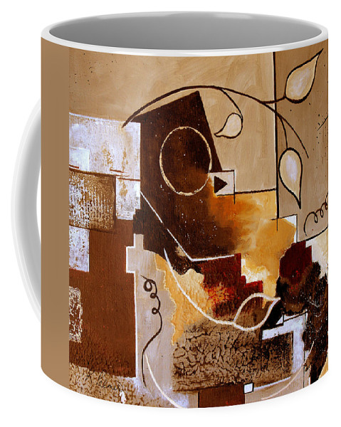 Abstract Coffee Mug featuring the painting Abstract Nature Wall by Ruth Palmer