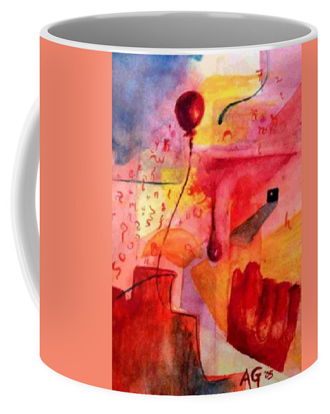 Abstract Coffee Mug featuring the painting Abstract One Balloon by Andrew Gillette