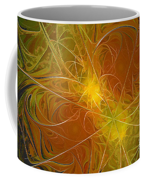 Digit Coffee Mug featuring the digital art Abstract Orange by Deborah Benoit