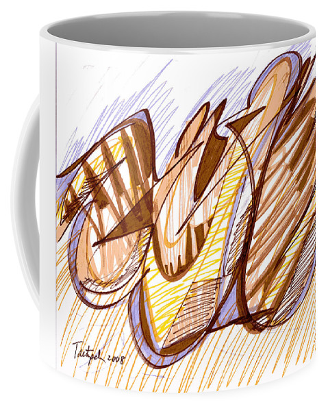 Abstract Art Coffee Mug featuring the drawing Abstract Pen Drawing Nine by Lynne Taetzsch