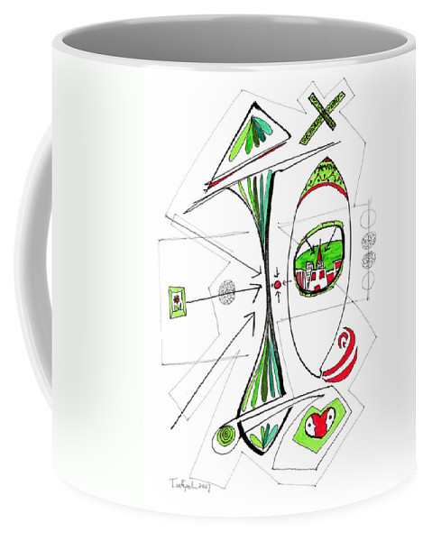 Abstract Coffee Mug featuring the drawing Abstract Pen Drawing Seventy-six by Lynne Taetzsch