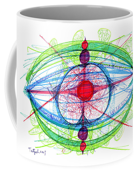 Abstract Coffee Mug featuring the drawing Abstract Pen Drawing Thirty-one by Lynne Taetzsch