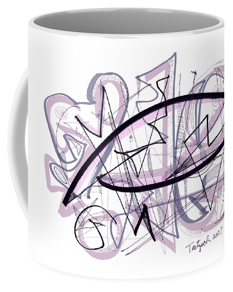 Abstract Coffee Mug featuring the drawing Abstract Pen Drawing Thirty-six by Lynne Taetzsch