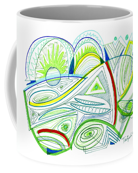 Abstract Coffee Mug featuring the drawing Abstract Pen Drawing Thirty-two by Lynne Taetzsch