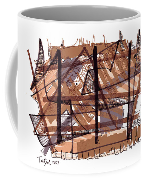 Abstract Art Coffee Mug featuring the drawing Abstract Pen Drawing Twelve by Lynne Taetzsch