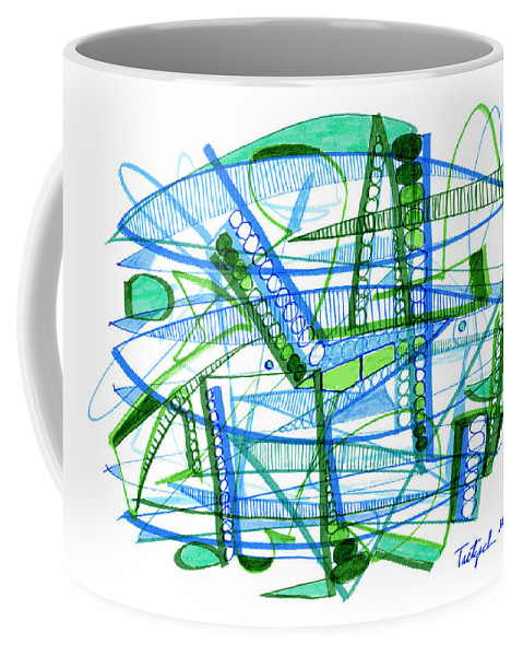 Abstract Coffee Mug featuring the drawing Abstract Pen Drawing Twenty-eight by Lynne Taetzsch