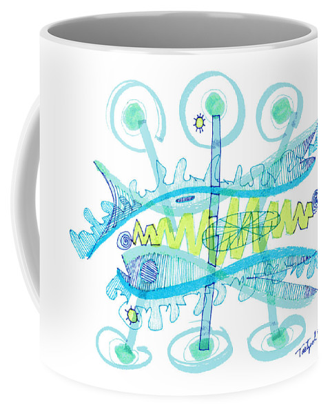 Abstract Coffee Mug featuring the drawing Abstract Pen Drawing Twenty-five by Lynne Taetzsch