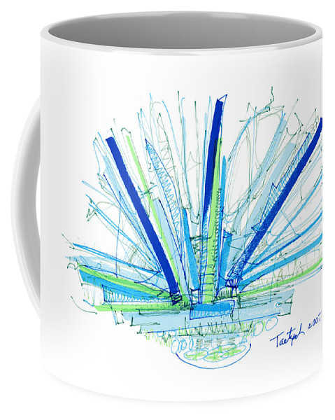 Abstract Coffee Mug featuring the drawing Abstract Pen Drawing Twenty-nine by Lynne Taetzsch