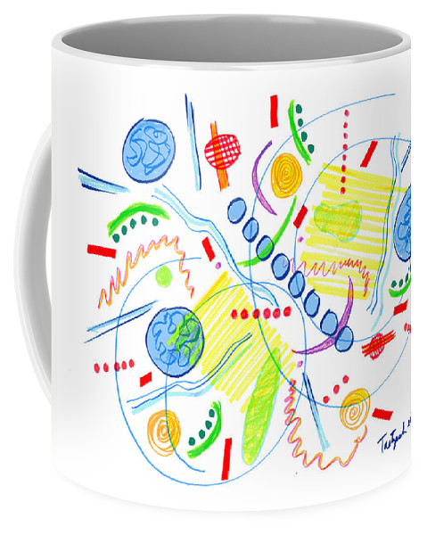 Abstract Coffee Mug featuring the drawing Abstract Pen Drawing Twenty-seven by Lynne Taetzsch
