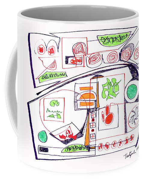 Abstract Coffee Mug featuring the drawing Abstract Pen Drawing Twenty-three by Lynne Taetzsch