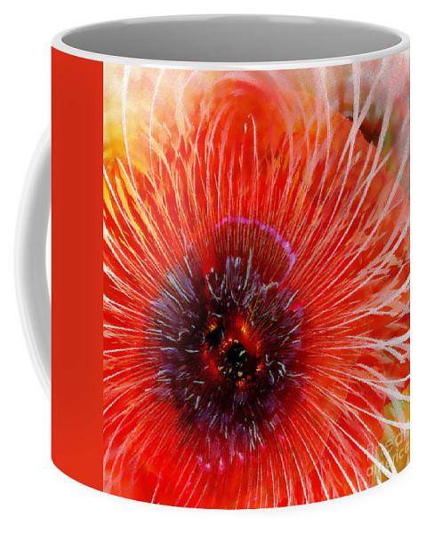 Abstract Coffee Mug featuring the digital art Abstract Poppy by Klara Acel