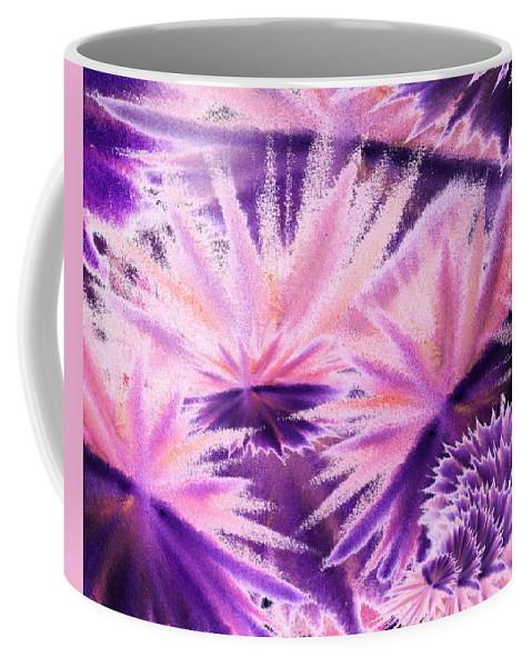 Abstract Coffee Mug featuring the painting Abstract Purple Flowers by Irina Sztukowski