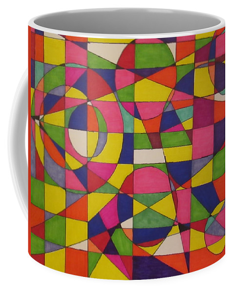 Design Coffee Mug featuring the drawing Abstract Rainbow Of Color by Sarahjo Hawes