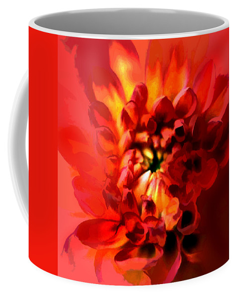Nature Coffee Mug featuring the painting Abstract Red Chrysanthemum by Elaine Plesser