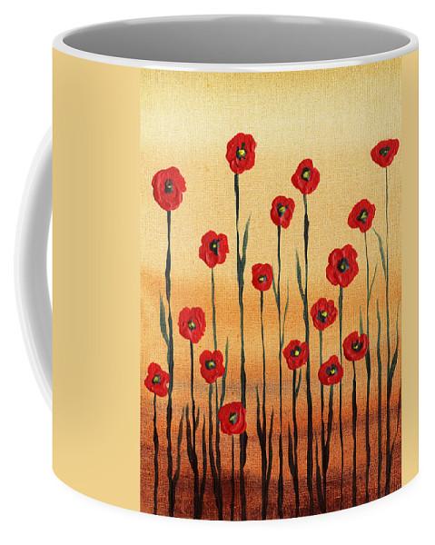Poppies Coffee Mug featuring the painting Abstract Red Poppy Field by Irina Sztukowski