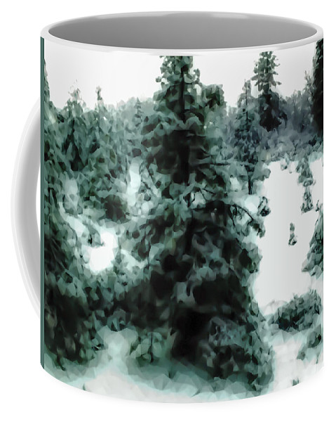 Coffee Mug featuring the photograph Abstract Snowy Trees Lighter by Heather Joyce Morrill