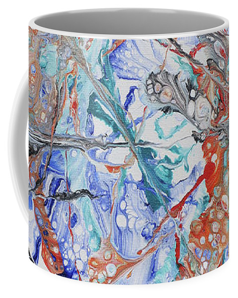 Abstract Coffee Mug featuring the painting Abstract String by Louise Andersen