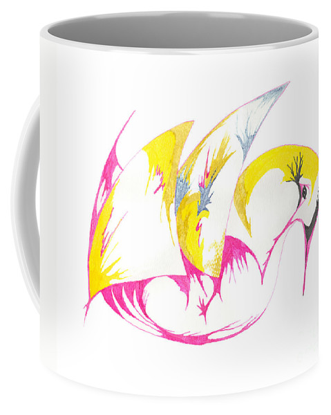 Abstract Coffee Mug featuring the drawing Abstract Swan by Mary Mikawoz