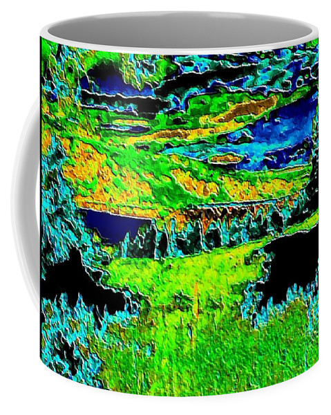 Abstract Coffee Mug featuring the digital art Abstract Vista by Will Borden