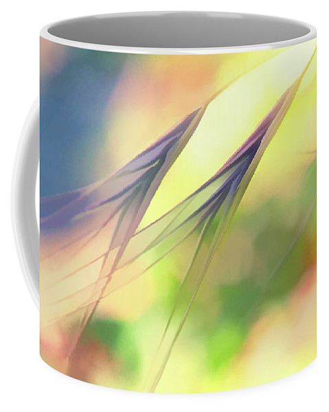 Weeds Coffee Mug featuring the digital art Abstract Weeds Yellow by Terry Davis