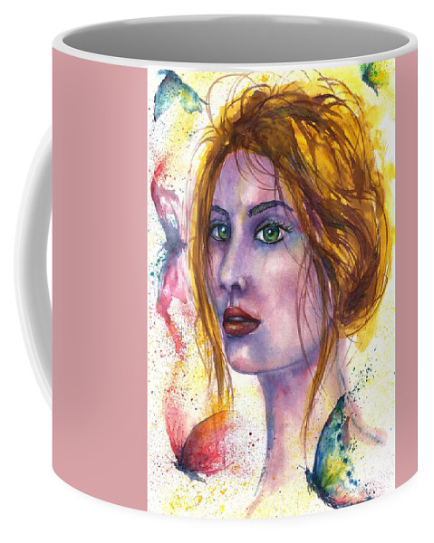 Women Face Coffee Mug featuring the painting Abstract women face by Natalja Picugina