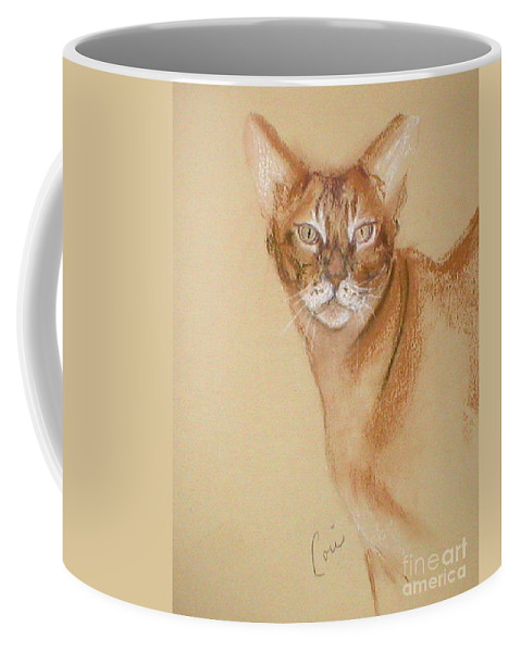Pastel Coffee Mug featuring the drawing Abyssinian by Cori Solomon