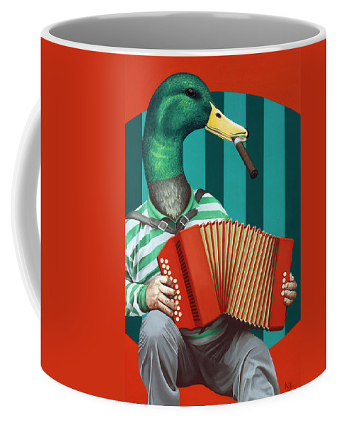 Acrylic Coffee Mug featuring the painting Accordion To This by Kelly Jade King