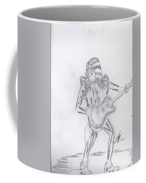 Ace Frehley Coffee Mug featuring the drawing Ace Frehley by David G Boggs