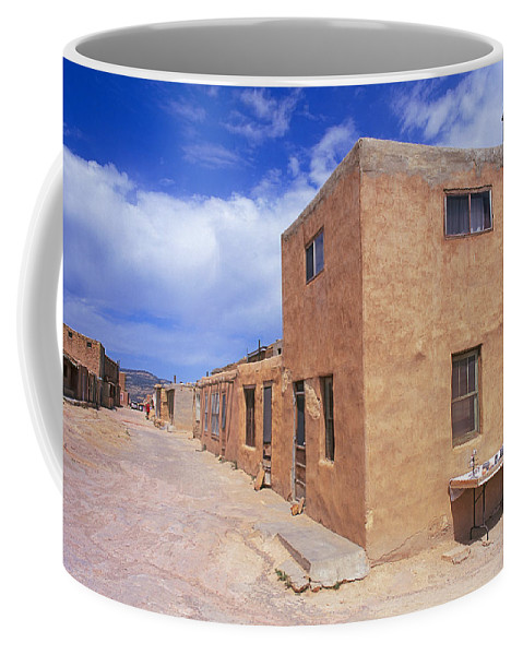 Traditional; Indian; Native; American; Pottery; Pots; Ceramics; Acoma; Indian; Pueblo; Reservation; Sky; City; New; Mexico Coffee Mug featuring the photograph Acoma Pueblo In New Mexico by Buddy Mays