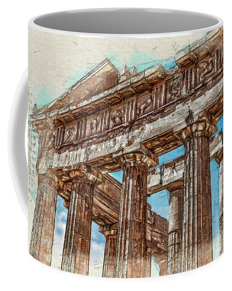 Acropolis Coffee Mug featuring the digital art Acropolis I by Ronald Bolokofsky