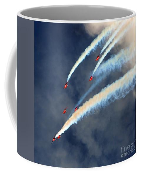 Red Arrows Coffee Mug featuring the photograph Across by Angel Ciesniarska