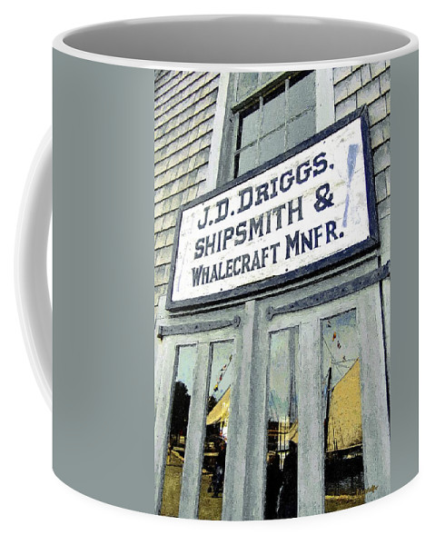 Sign Coffee Mug featuring the painting Across From The Harbor by RC DeWinter