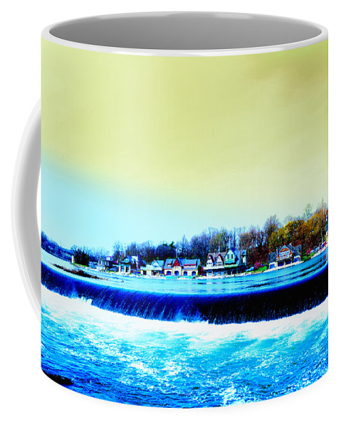 Philadelphia Coffee Mug featuring the photograph Across The Dam To Boathouse Row. by Bill Cannon