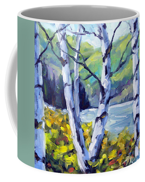 Art Coffee Mug featuring the painting Across The Lake by Richard T Pranke