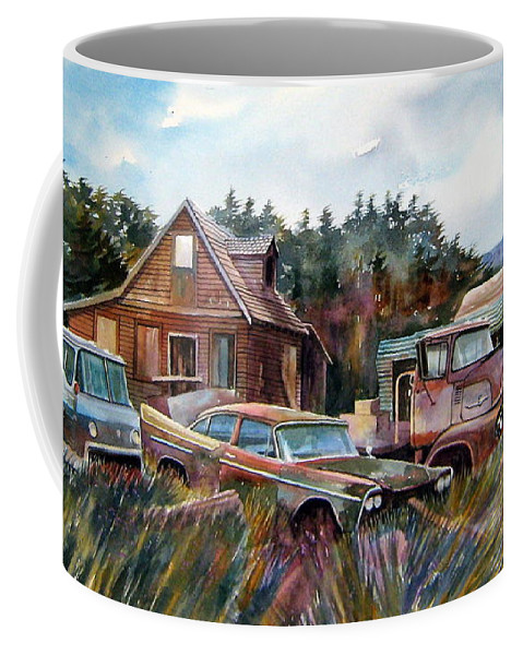 Cars Coffee Mug featuring the painting Across The Road And Gone by Ron Morrison