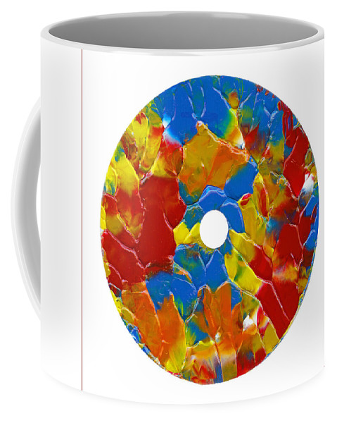 Abstract Coffee Mug featuring the painting Acrylic On Cd One by Carl Deaville