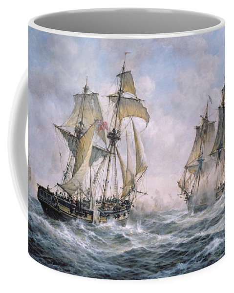 Seascape; Ships; Sail; Sailing; Ship; War; Battle; Battling; United States; Wasp; Brig Of War; Frolic; Sea; Water; Cloud; Clouds; Flag; Flags; Sloop; Action; Wave; Waves Coffee Mug featuring the painting Action Between U.s. Sloop-of-war 'wasp' And H.m. Brig-of-war 'frolic' by Richard Willis