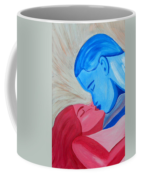 Adam And Eve Coffee Mug featuring the painting Adam And Eve Close Up by Angelina Vick
