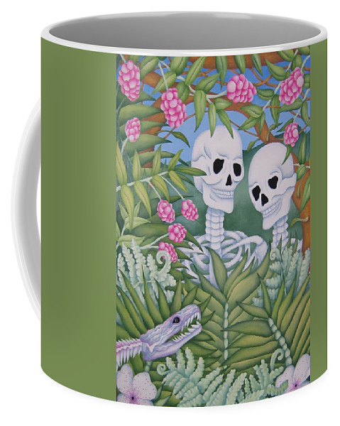 Calavera Coffee Mug featuring the painting Adam And Eve by Jeniffer Stapher-Thomas