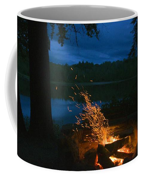Campfire Coffee Mug featuring the photograph Adirondack Campfire by Tony Beaver