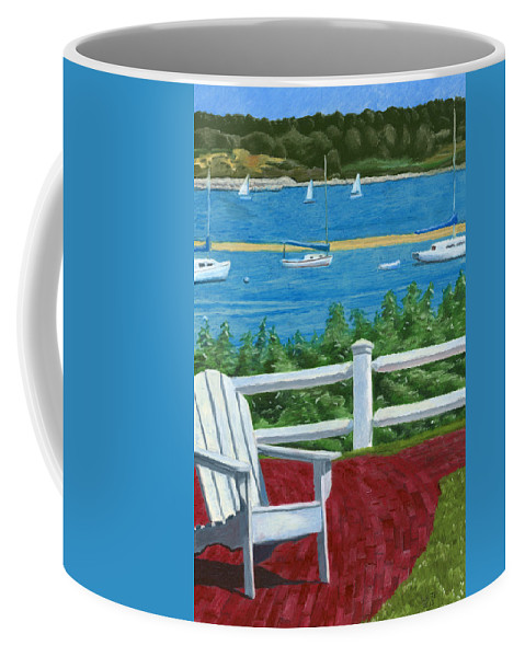 Adirondack Chair Coffee Mug featuring the drawing Adirondack Chair On Cape Cod by Dominic White