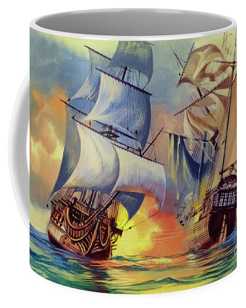 History Coffee Mug featuring the painting Admiral Hood's Fleet In The West Indies by Ron Embleton