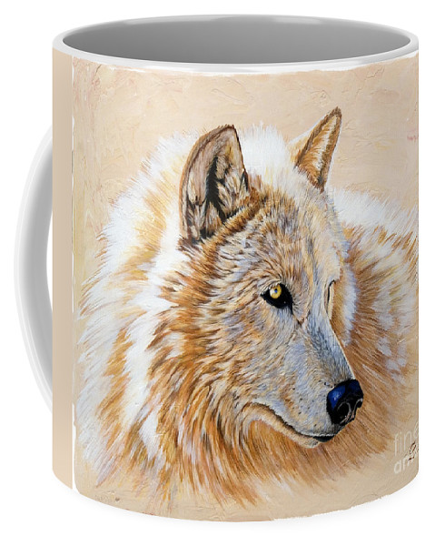 Acrylic Coffee Mug featuring the painting Adobe White by Sandi Baker