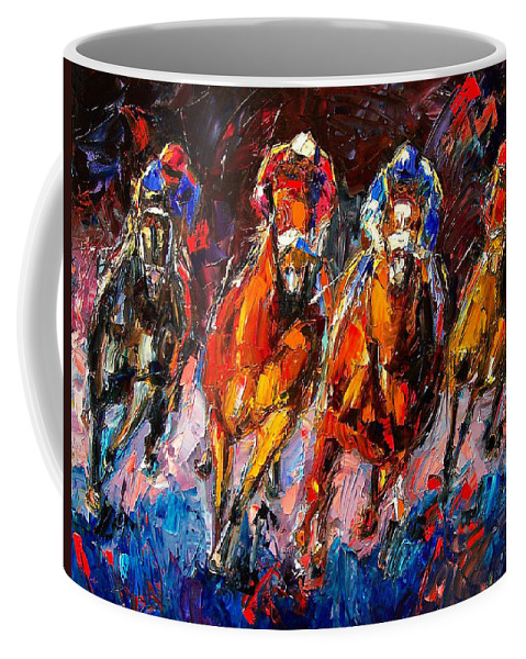 Horse Race Coffee Mug featuring the painting Adrenaline by Debra Hurd
