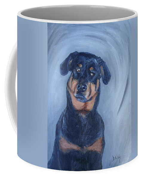 Rottweiler Coffee Mug featuring the painting Adrian by Donna Tuten