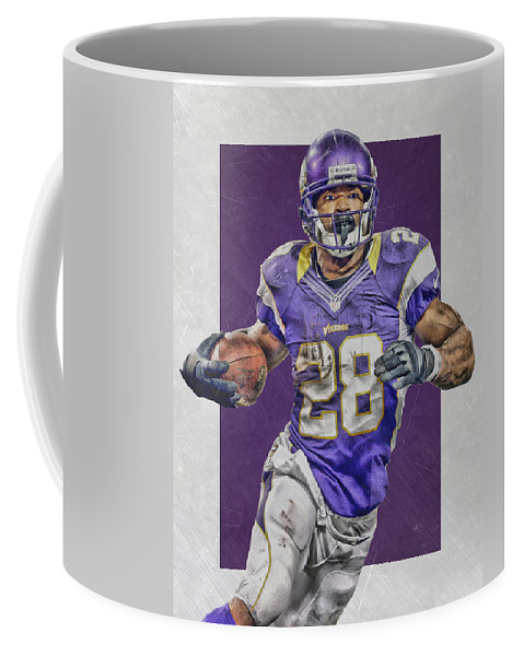 56965140a Adrian Peterson Coffee Mug featuring the mixed media Adrian Peterson  Minnesota Vikings Art 4 by Joe