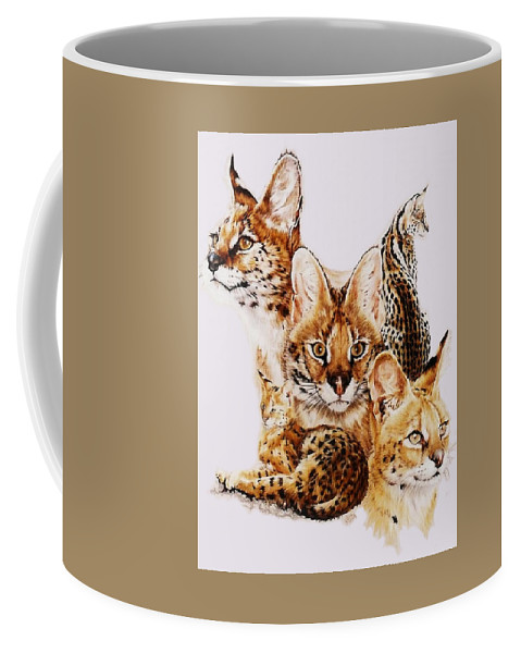Serval Coffee Mug featuring the drawing Adroit by Barbara Keith