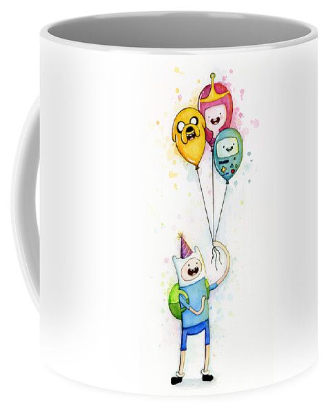 Jake Coffee Mug featuring the painting Adventure Time Finn With Birthday Balloons Jake Princess Bubblegum Bmo by Olga Shvartsur