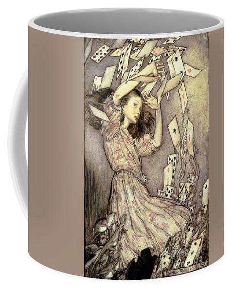 Illustration Coffee Mug featuring the drawing Adventures In Wonderland by Arthur Rackham