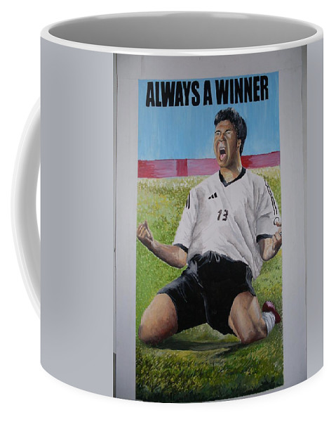 Footballer Coffee Mug featuring the painting Advert Paintographic by Olaoluwa Smith